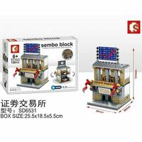 mainan sembo block sd6531 stock exchange ada LED nya