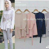 Baju hijab model baru / Atasan linen rubi / Blus muslim : Alina Blouse
