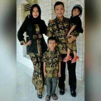 Baju Couple Batik Sarimbit Keluarga full set Mama Papa & 2 Anak Cewek