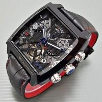 Jam tangan pria Tag Heuer V4 kotak Kulit Full black