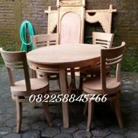 Satu Set meja kursi makan moderen dari kayu jati jepara free ongkir