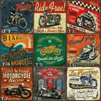 Jual hiasan dinding poster kayu dekorasi rumah cafe motor klasik vintage Murah