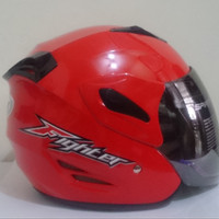 HELM GM FIGHTER SOLID HALF FACE RED