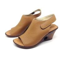 Sandal / Sepatu Wanita Wedges Heels 7 cm Coklat Asli Kulit Sapi Garut