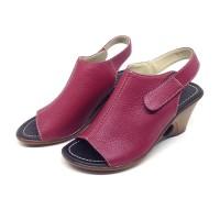 Sandal wedges Wanita Heels 7 cm Maroon Asli Kulit Sapi Garut
