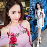 BFS.102 baju wanita jumpsuit bunga merah model variasi lengan