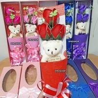 Buket Bunga Mawar Sabun + Boneka, Valentine gift/ultah/anniversay unik