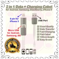 Kabel Data/charger 2 In 1 Utk Android, Samsung, Bb, Iphone 5 (Good Q