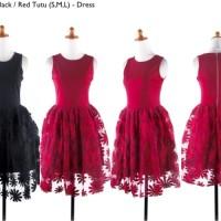 S1283 Dress pesta merah hitam katun brokat lac KODE YT1283