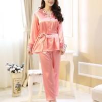 Baju Tidur Import Lengan Panjang Setelan Piyama Modis Fashion Wanita