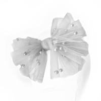 pearl tulle bow grey