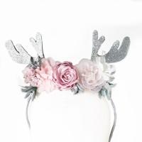 pink blush silver antler