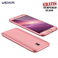 WEIKA Full Cover Armor Matte Hard Case for Samsung J5 Pro Rose Gold