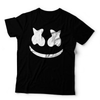 Bslt kaos DJ Marshmello Face 1 Hitam t shirt marshmallow Marshmel yy