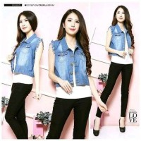 Terbaru Grosir Vest Fashion Wanita Sweety vest jeans By Aisha
