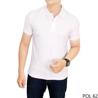LIMITED EDITION  Kaos Kerah Warna Putih Polos Pria TERJAMIN