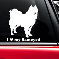 Stiker Mobil dog I love my Samoyed Rear Car Sticker Anjing Kaca 14cm