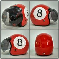 Helm BOGO JPN motif angka 8 billiar merah glossy + kaca bogo original