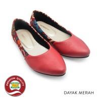 Sepatu Batik Wanita Ethnic Flat Shoes Dayak Merah The Warna Original