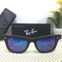 Kacamata Ray Ban Wayfarer 2140 black glossy blue Lens Original