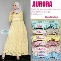Long Dress Maxi Wanita Muslim gaun pesta brokat aurora L