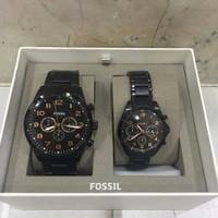 Fossil Couple Set watch black tone finish BQ2278. Jam Fossil Original