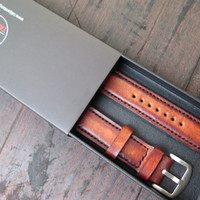20mm, 22mm, 24mm Classican Dark Brown Handmade Leather Strap Tali Jam