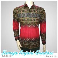 Kemeja batik motif Anjani gradasi merah lengan pendek Bening Ayu Batik