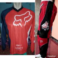 Jersey Celana Trail Cross Motocross Trabas Adventure Fox Merah