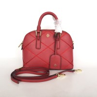 Tory Burch Robinson Stitched Dome Satchel Red