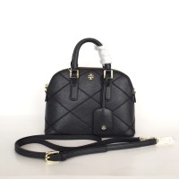 Tory Burch Robinson Stitched Dome Satchel Black