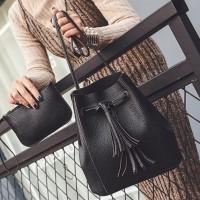 JINGPIN 2in1 Tassel Bucket Bag Leather Korean Fashion Women Handbags S