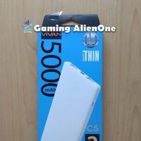 Power Bank Vivan C5 Ultrathin 5000mAh 5000 mAh PowerBank 2 USB Putih