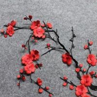 aplikasi bordir bunga sakura merah. embroidery patch iron on red.