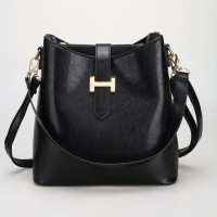 tas tangan hand tote bag handbag sandang wanita hitam kepang besar pu