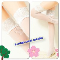 BSS 9142-3 White Stocking Top Lace Net Halus