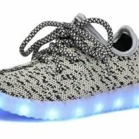 Sepatu walker anak import kets abu leopard tali elegan ada lampu LED
