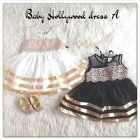 baju dress gaun pesta kondangan gold fashion renda anak bayi perempuan