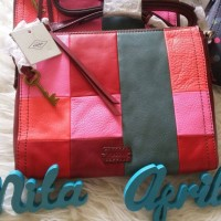 Tas Fossil Emma Crossbody Patchwork PW Multi Pink Sling Bag Selempang
