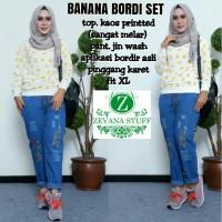 Harga grosir baju hijab pakaian setelan banana bordi | Pembandingharga.com
