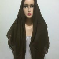 Jilbab Segi Empat Paris Polos coklat tua coktu Kerudung segiempat