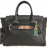 Jual Tas Coach Swagger 33 black pebble leather