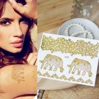 Gold Flash Tattoo Model 1 Stiker Tattoo Tempel Bentuk Gajah Emas Impor