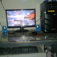 KOMPUTER PC CPU DAN MONITOR FULL SPERANGKAT 14 INC LG RAM 2048 MB 2 GB