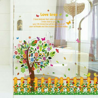 WALL STICKER STIKER DINDING 60X90 SK9024 TREE AND FENCE