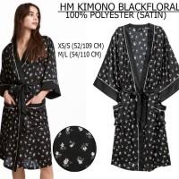 KIMONO / PIYAMA / BAJU TIDUR H&M BLACK FLORAL