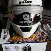 Helm shark SKWAL fullface putih glossy polos ada lampu LED bisa nyala