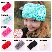 Topi Anak Baby Turban Flower Bow Crochet /Headband Rajut Anak Bayi