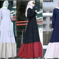 Dress Gamis Polos Lengan Balon Fashion Moza Ummina Murah Simple