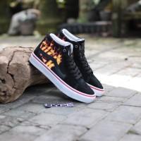 Sepatu Thrasher x Vans Sk8-Hi Pro Flame BlackWhite Premium Original